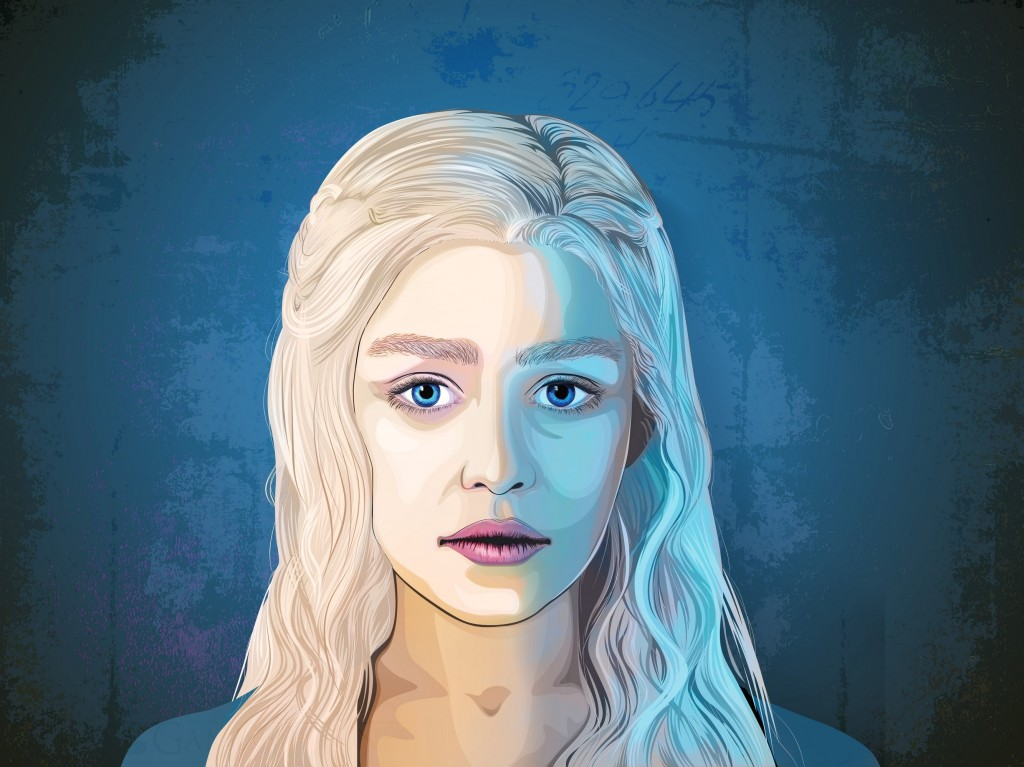Daenerys Targaryen – mother of dragons featured in graphic pop art style